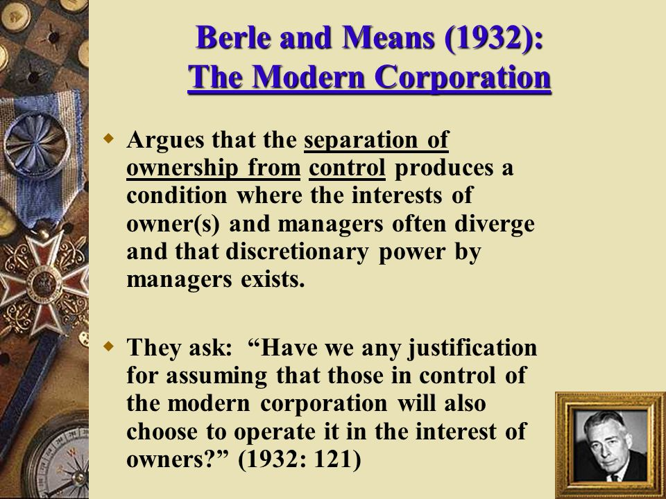 Berle and means separation thesis