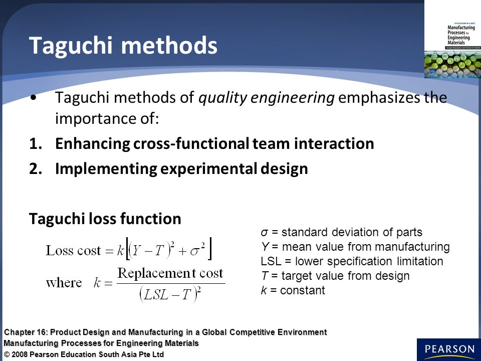 the taguchi methods for quality improvement This article introduces a case study using the taguchi method to improve  education quality developed by taguchi genichi, this method has its.
