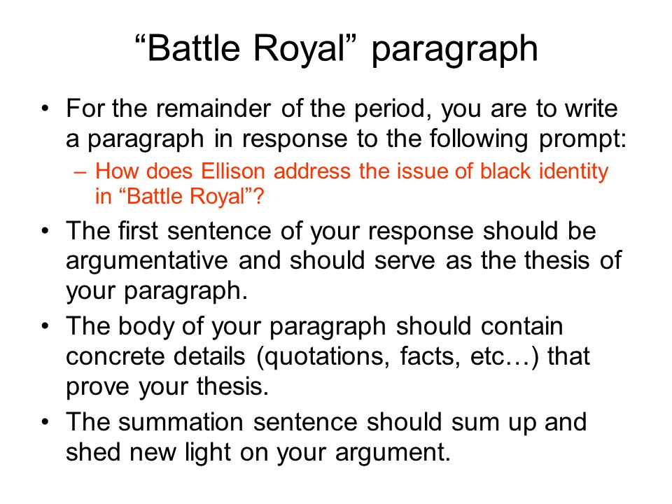 battle royal ralph ellison racism essay Invisible man is a novel by ralph ellison, published by random house in 1952 it addresses many of the social and intellectual issues facing african americans early in the twentieth century, including black nationalism, the relationship between black identity and marxism, and the reformist racial policies of booker t washington, as well as issues of individuality and personal identity.
