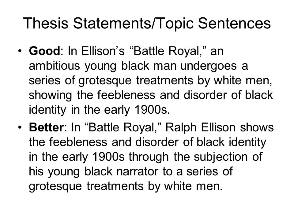 "ralph ellison ""battle royal"" ppt  battle royal paragraph 9 thesis"