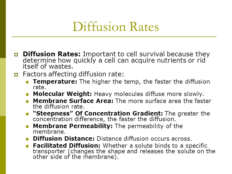 explain the relationship between the rate of diffusion and the size of the solute The effect of solute concentration on the rate of osmosis aim: to test and observe how the concentration gradient between a potato and water & sugar solution will affect the rate of osmosis.