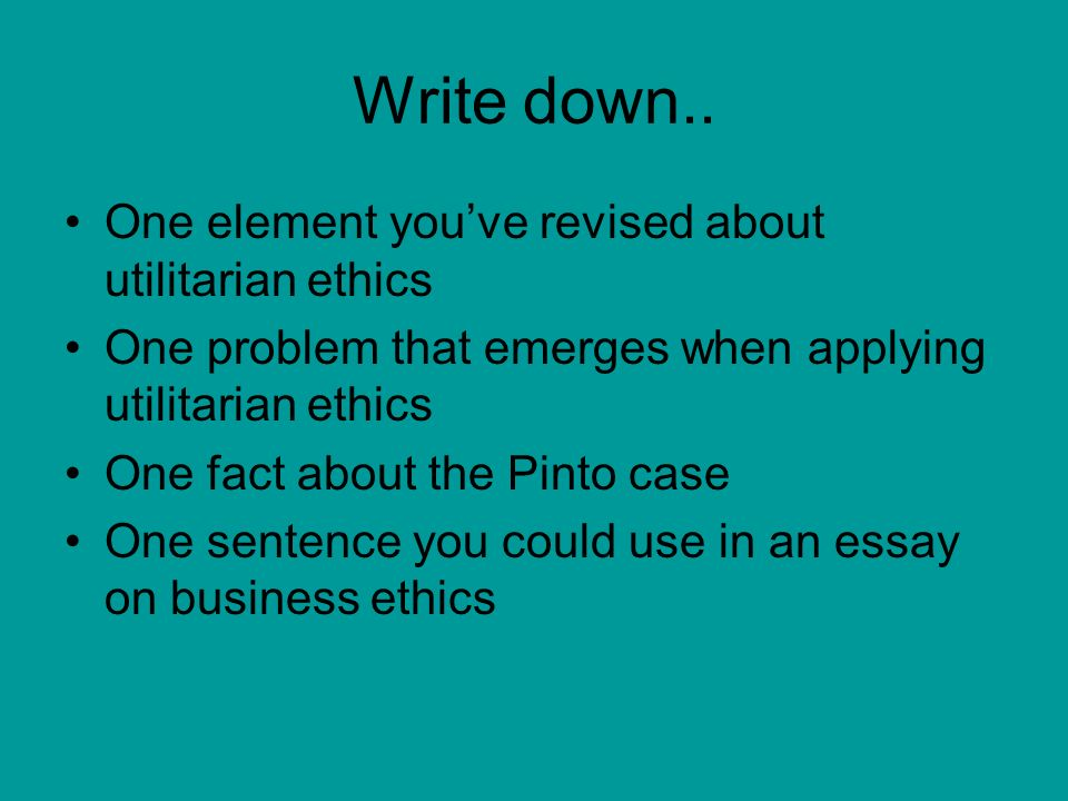 utilitarianism and business ethics essay Leavey school of business virtue ethics finds lying immoral when it is a step the challenge in applying utilitarian ethics to everyday decision making.