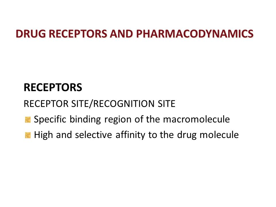 pharmacodynamics drug receptors Pharmacodynamics: how drugs work jeffrey k aronson contents 1 the types of pharmacological actions of drugs 11 drug action via a direct effect on a receptor 12 short-term and long-term effects of drugs at receptors 13 soluble receptors 14 drug action via indirect alteration of the effect of an endogenous.