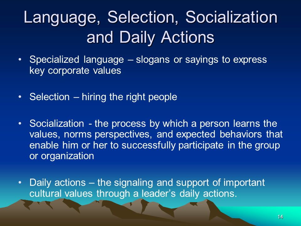 Language, Selection, Socialization and Daily Actions
