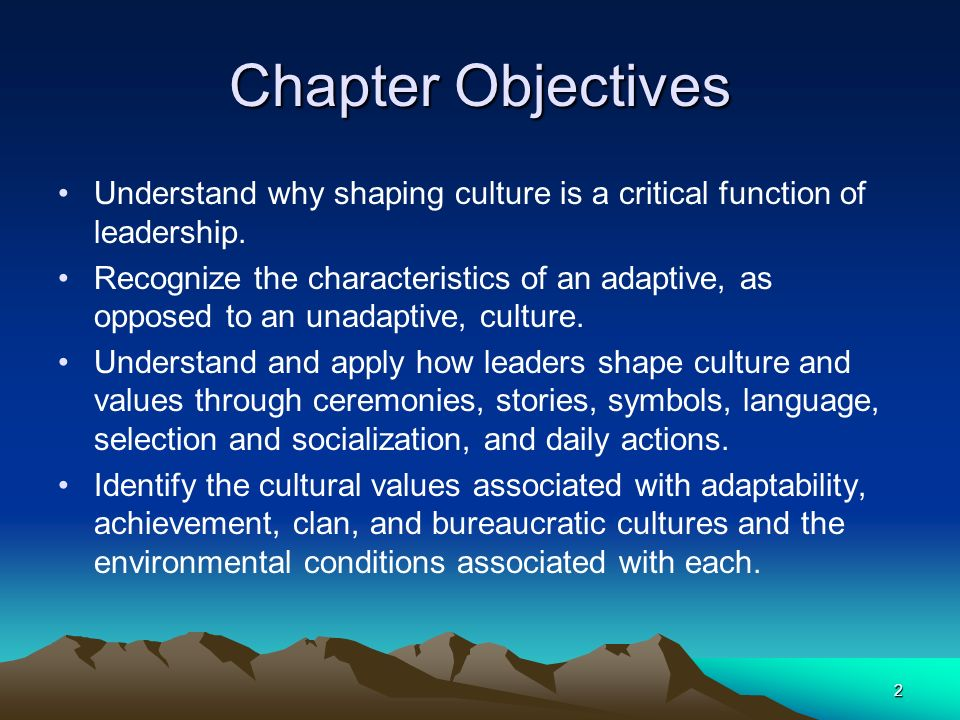 Chapter Objectives Understand why shaping culture is a critical function of leadership.