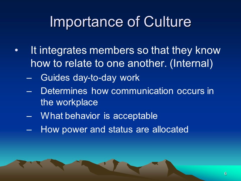 Importance of Culture It integrates members so that they know how to relate to one another. (Internal)