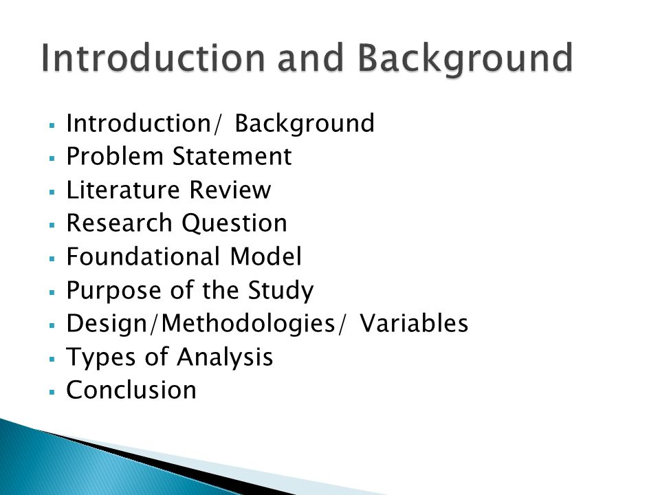 Background Of The Study In Research Proposal