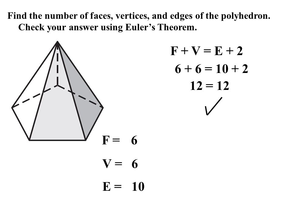 Worksheet Eulers Formula Vertices Faces Edges 12 1 explore solids ppt video online download find the number of faces vertices and edges polyhedron