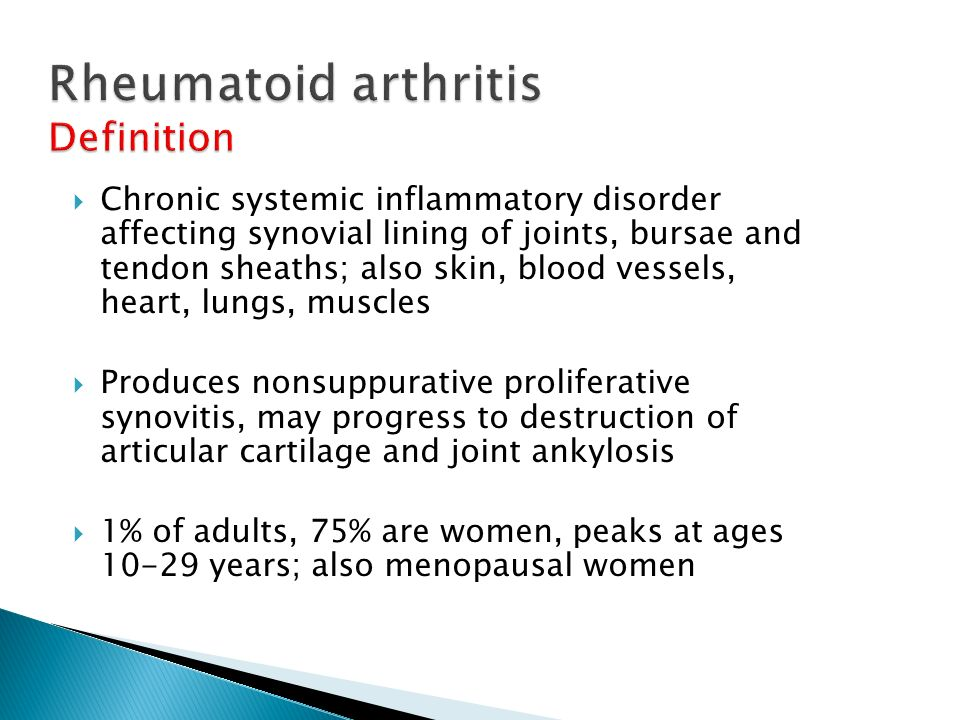 Rheumatoid arthritis Definition