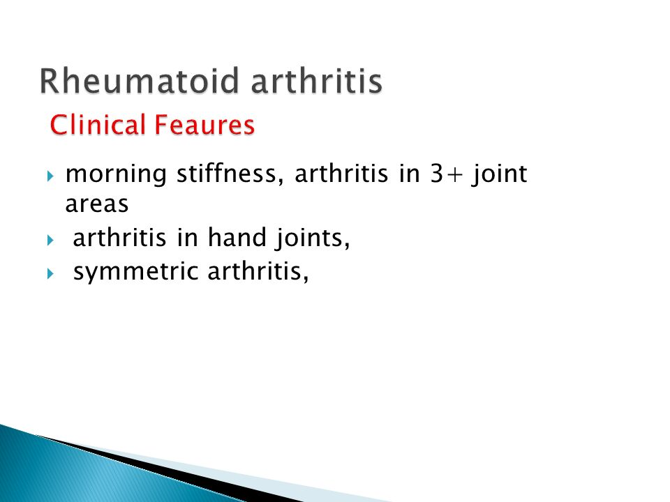 Rheumatoid arthritis Clinical Feaures