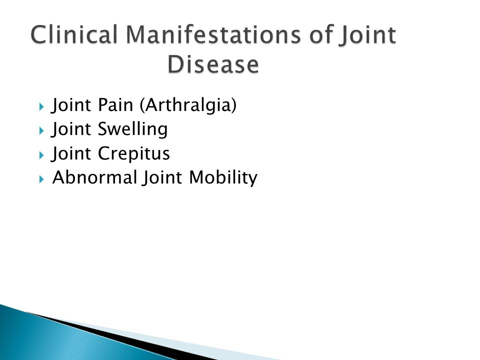 Clinical Manifestations of Joint Disease