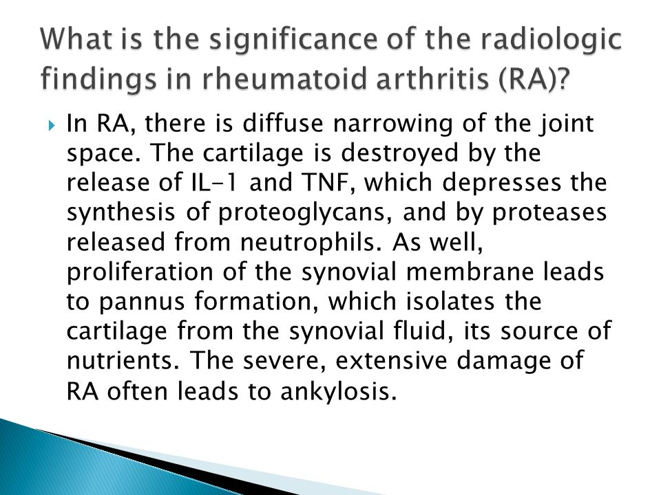 What is the significance of the radiologic findings in rheumatoid arthritis (RA)