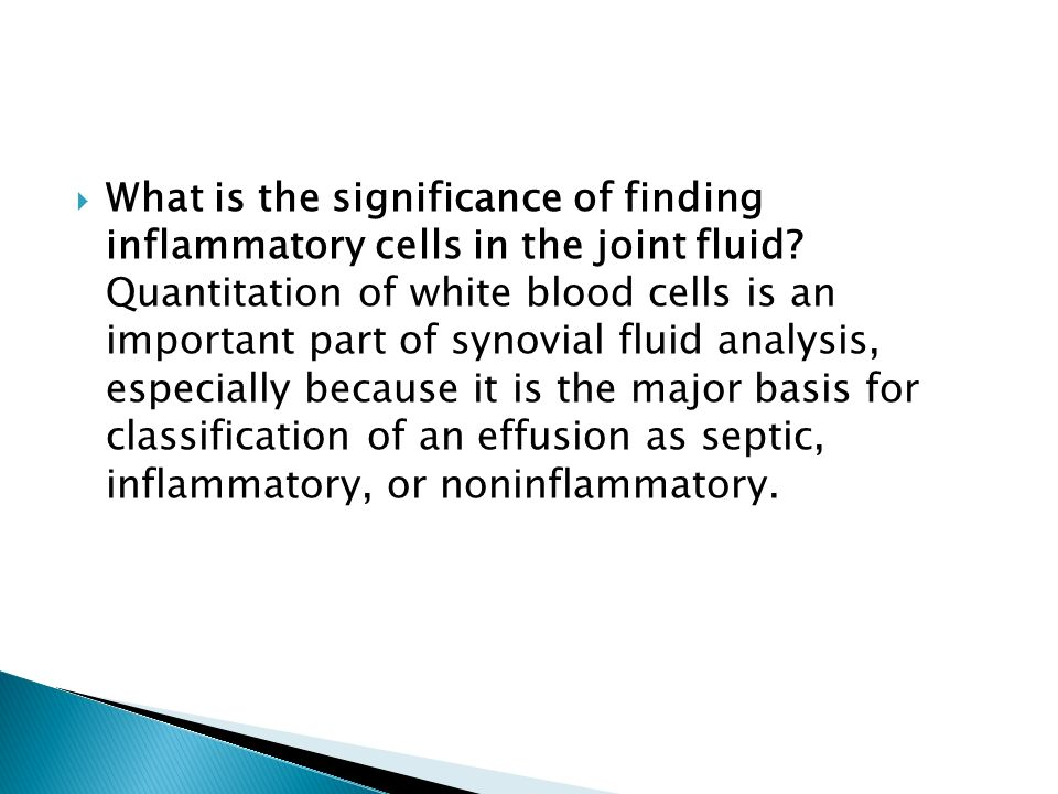 What is the significance of finding inflammatory cells in the joint fluid Quantitation of white blood cells is an important part of synovial fluid analysis, especially because it is the major basis for classification of an effusion as septic, inflammatory, or noninflammatory.