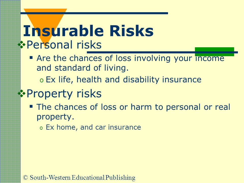 insurable risks The various life risks cannot be treated individually, so they are put under a few broad categories based on the degree of each risk there are two main classes of risk: (i) uninsurable risks and.