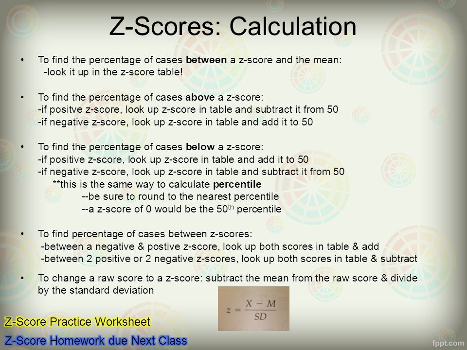Z Score Worksheet
