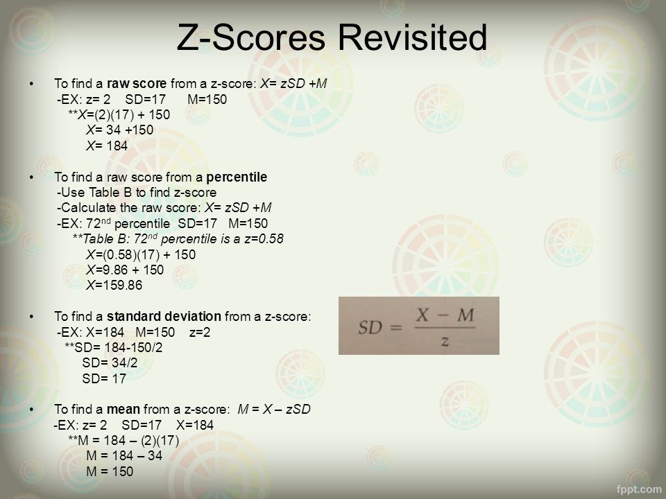 Chapter 4 5 the normal curve z scores ppt video online download z scores revisited to find a raw score from a z score x ccuart Image collections