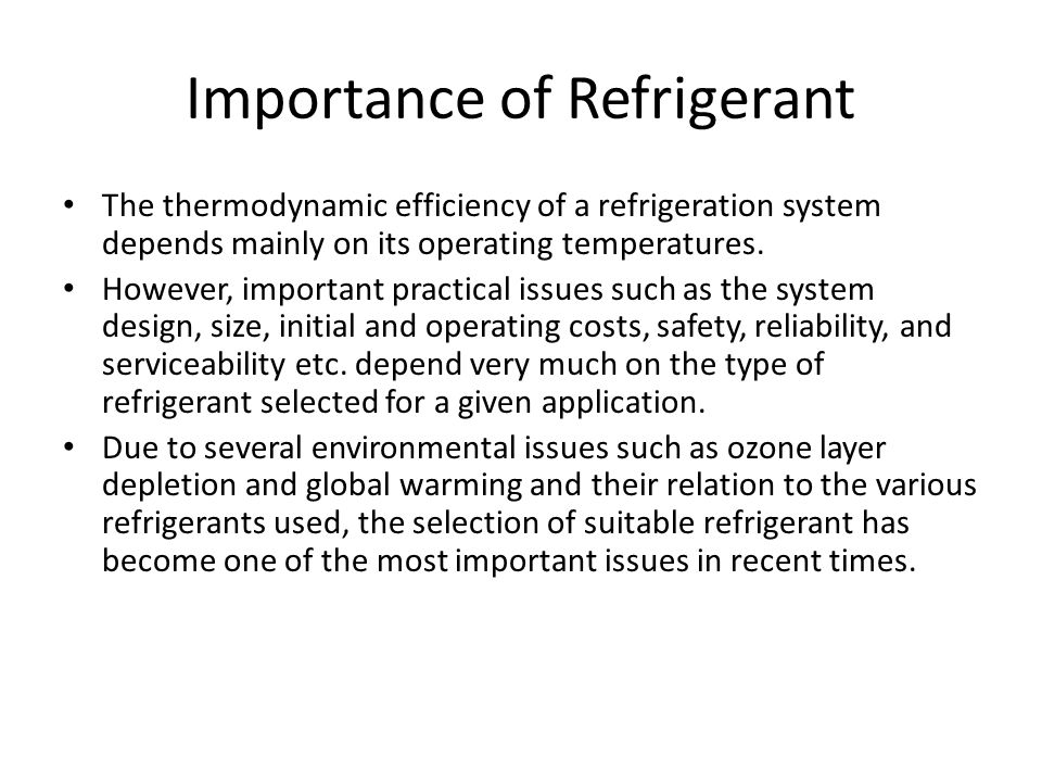 Importance of Refrigerant