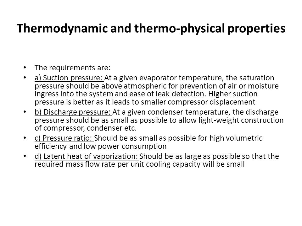 Thermodynamic and thermo-physical properties