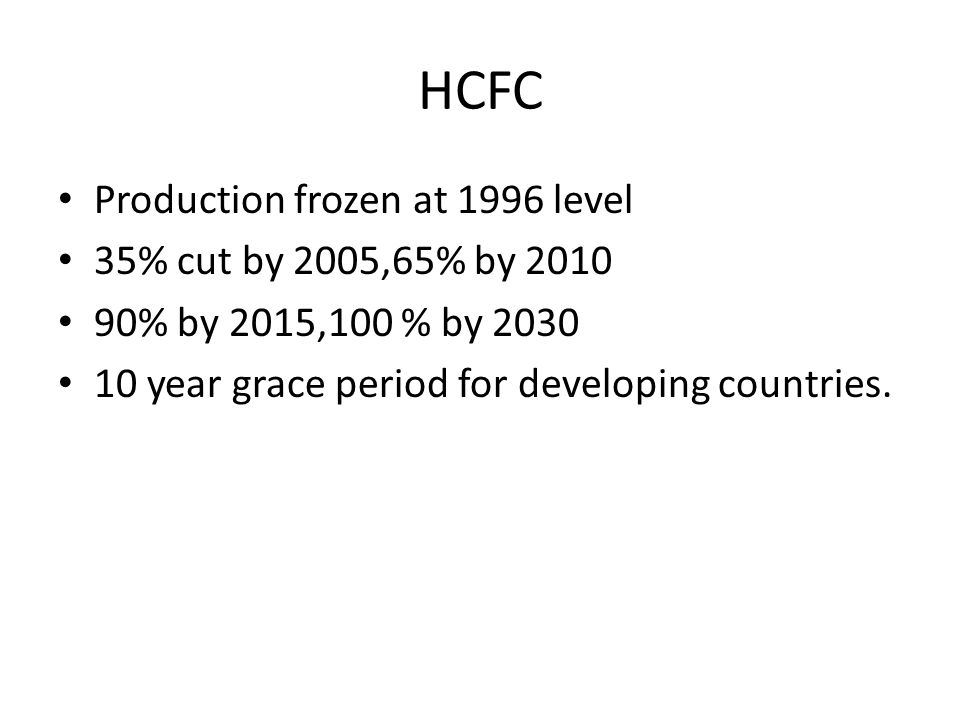 HCFC Production frozen at 1996 level 35% cut by 2005,65% by 2010