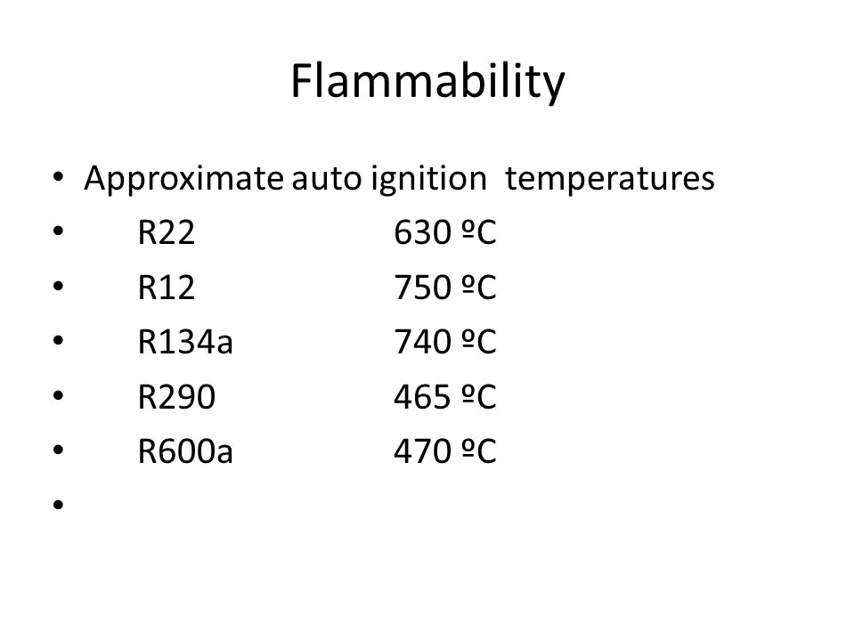 Flammability Approximate auto ignition temperatures R ºC
