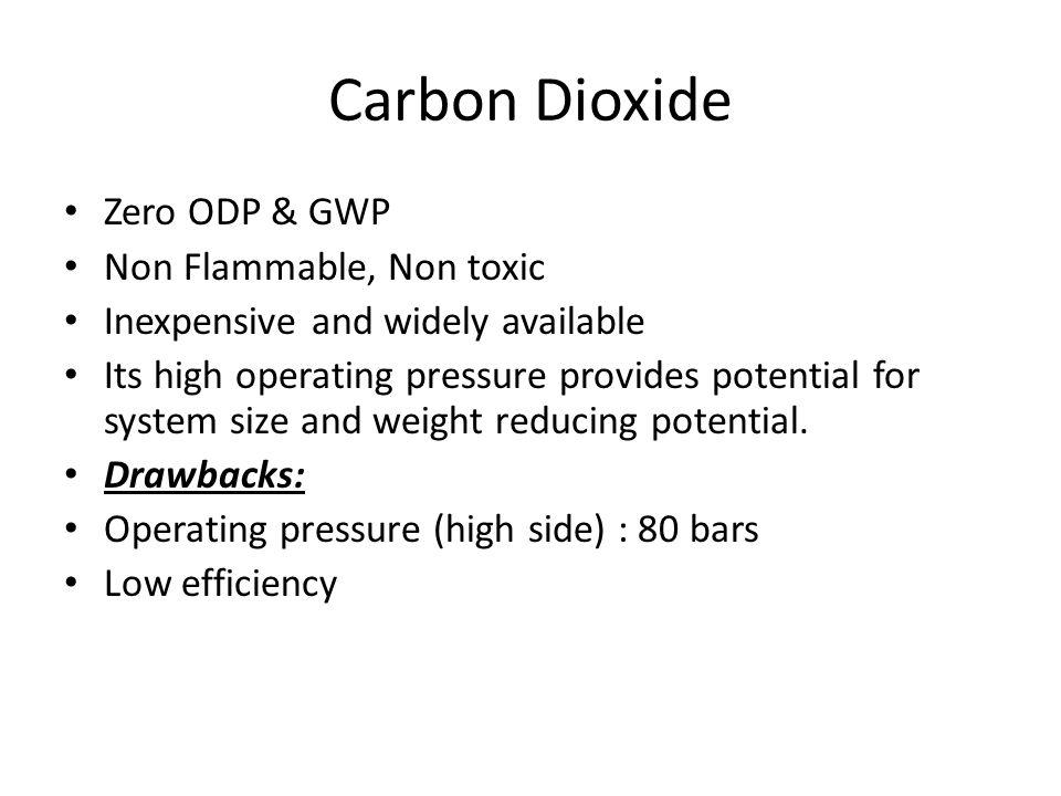Carbon Dioxide Zero ODP & GWP Non Flammable, Non toxic