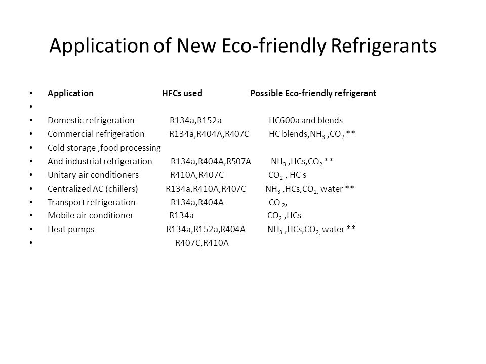 Application of New Eco-friendly Refrigerants
