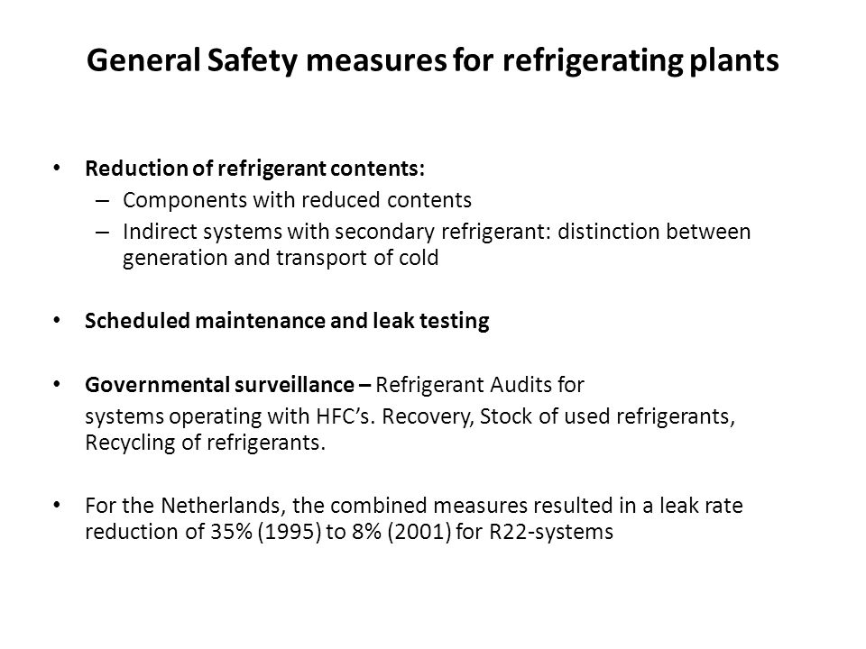 General Safety measures for refrigerating plants