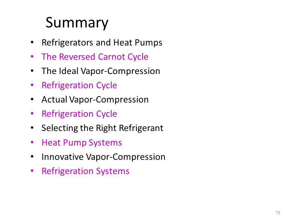 Summary Refrigerators and Heat Pumps The Reversed Carnot Cycle