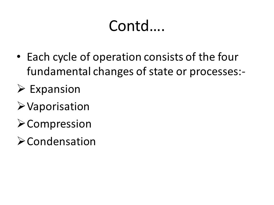 Contd…. Each cycle of operation consists of the four fundamental changes of state or processes:- Expansion.