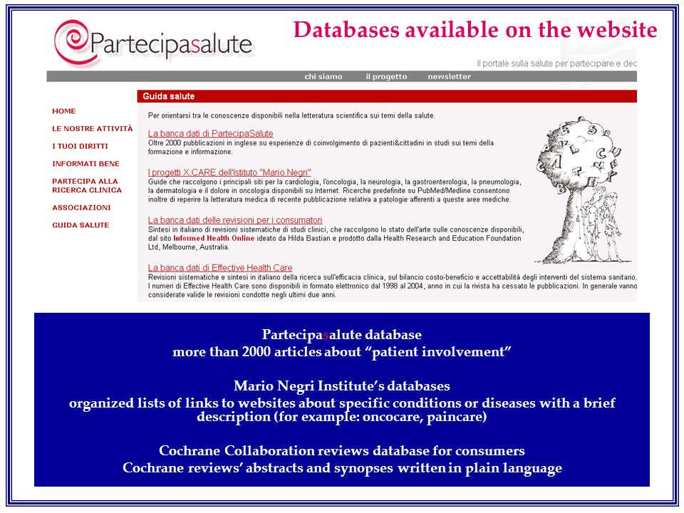 Databases available on the website