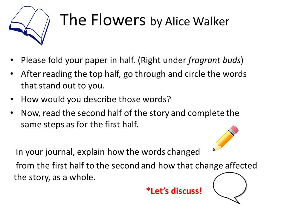 essay on the flowers by alice walker Exemplary prose passage essay for the flowers by alice walker essay question: in a well-organized essay discuss how alice walker conveys the meaning of the flowers.