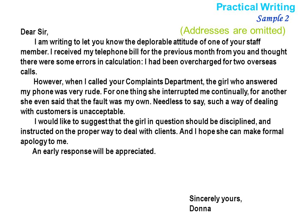 Ii Practical Writing Letters Of Complaint  Ppt Video Online Download