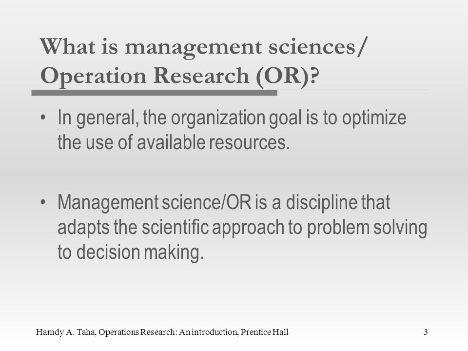 introduction to operation research Operations research (or) applies scientific method to the management of organized systems in business, industry, government and other enterprises.