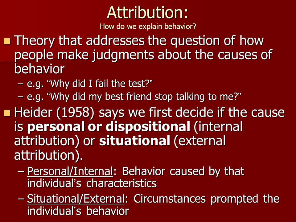 attribution theory in social psychology pdf