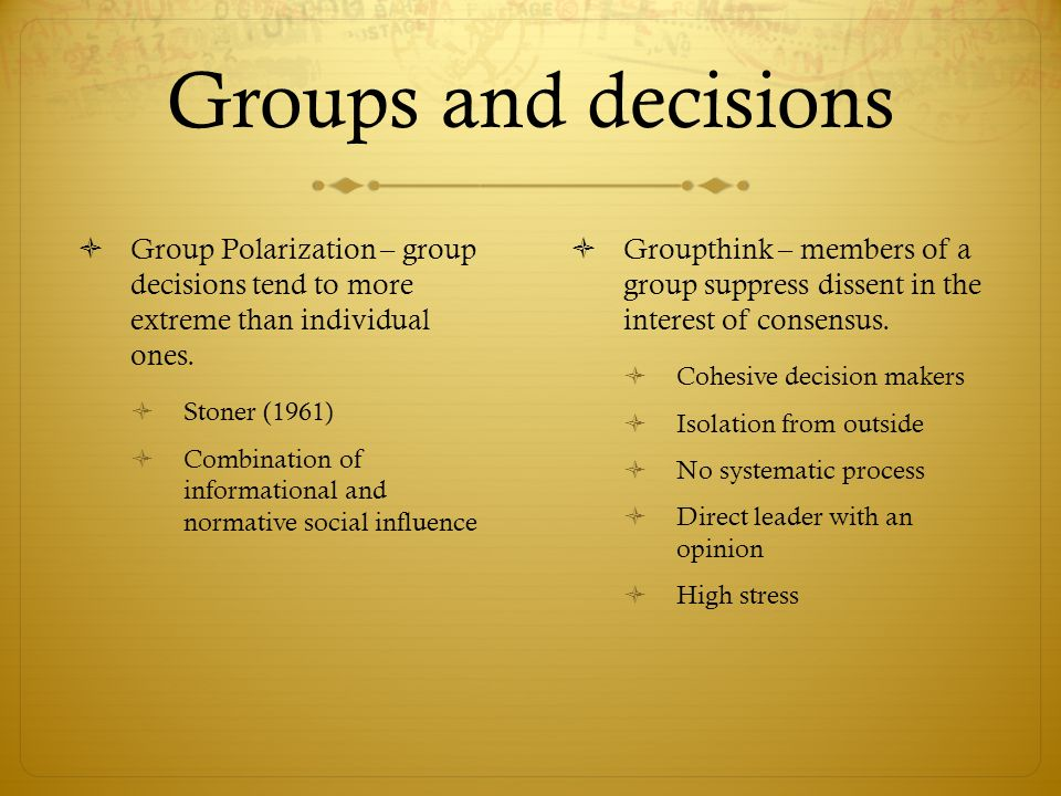 Group Polarization: The Trend to Extreme Decisions