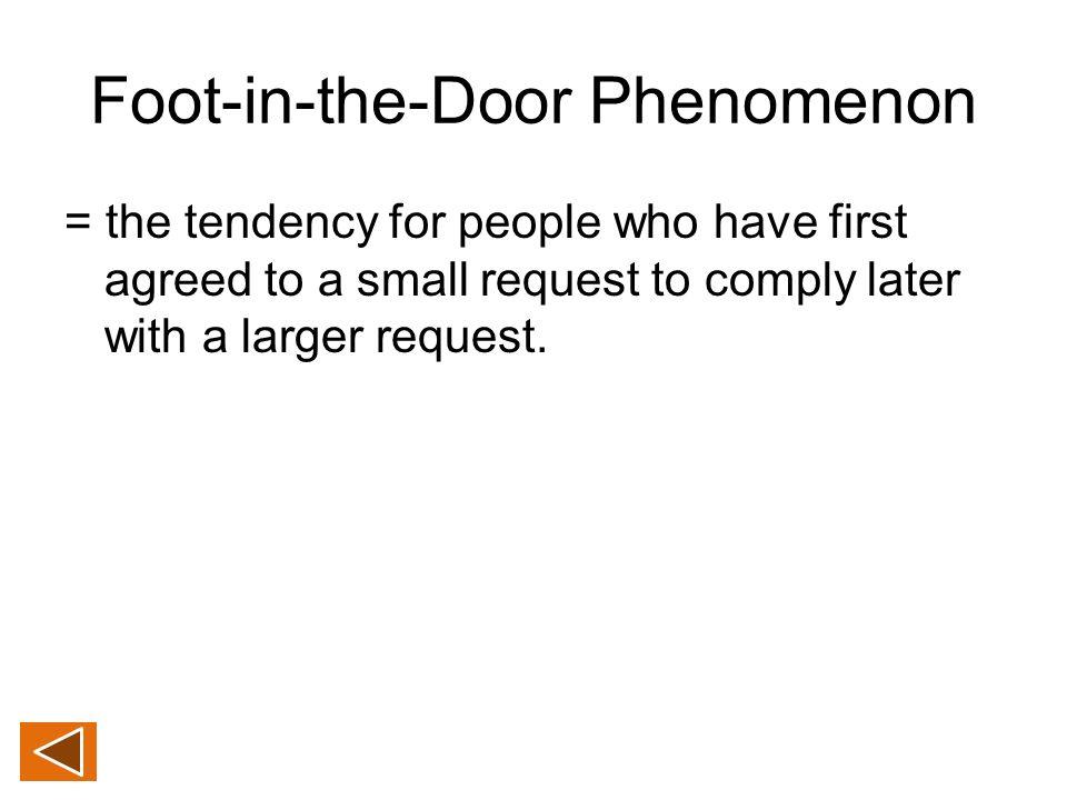 foot in the door technique To change a behaviour, get your foot in the door  let's discuss how we can  use the foot in the door technique to build consistency and.