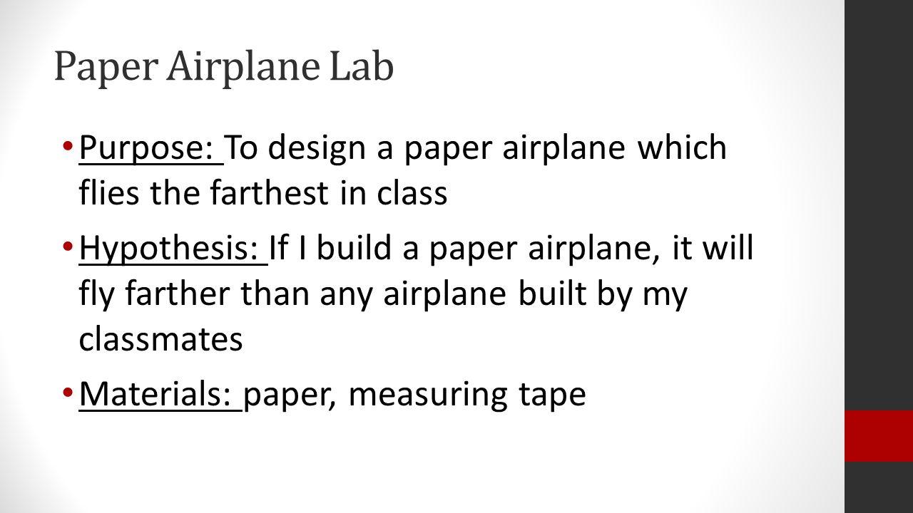 paper airplane lab report