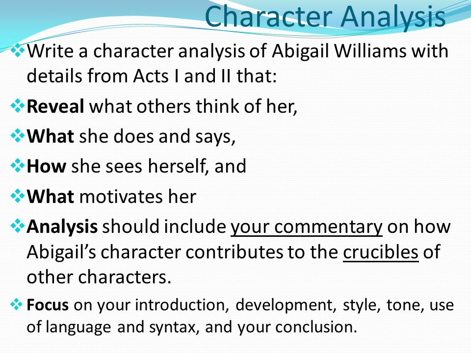 An introduction to the analysis of the characterization