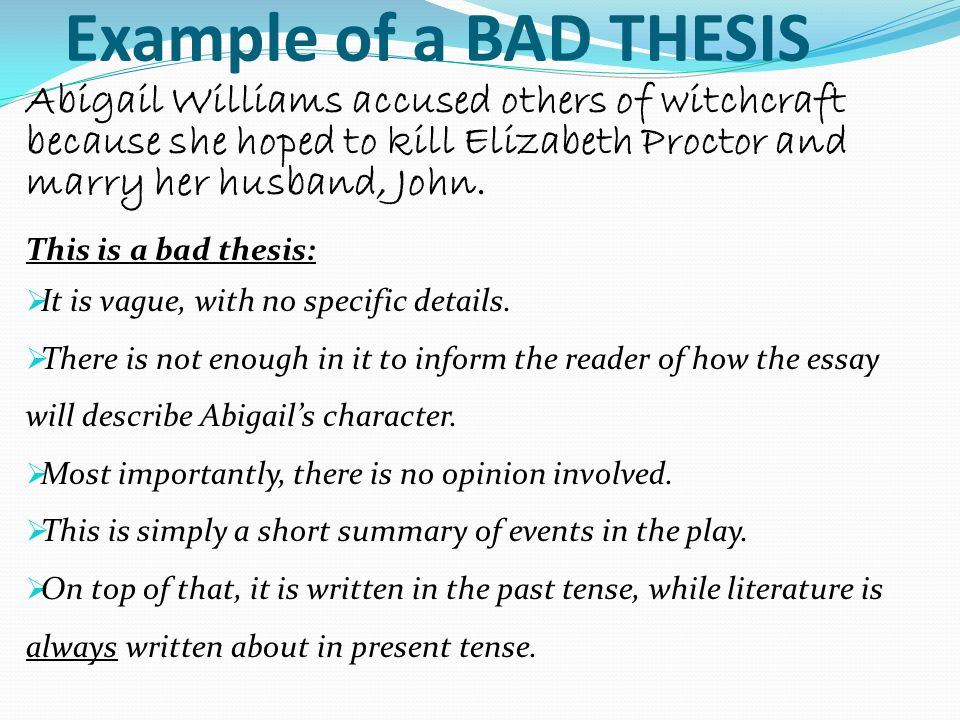bad thesis
