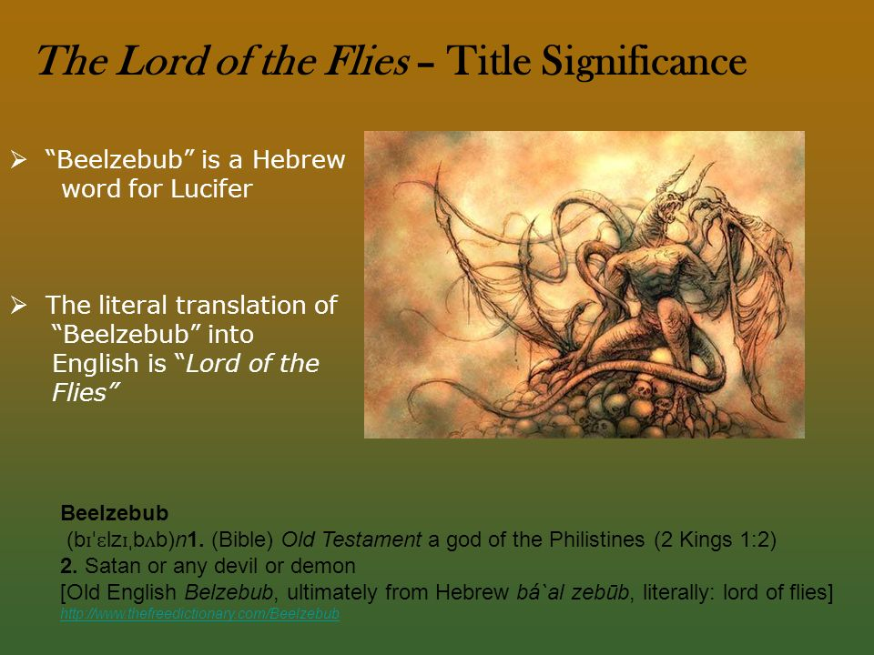 an analysis of beelzebub in lord of the flies by william golding The name 'lord of the flies' is a literal translation of the name of the biblical name beelzebub, a powerful demon from hell, sometimes thought to be the devil himself.