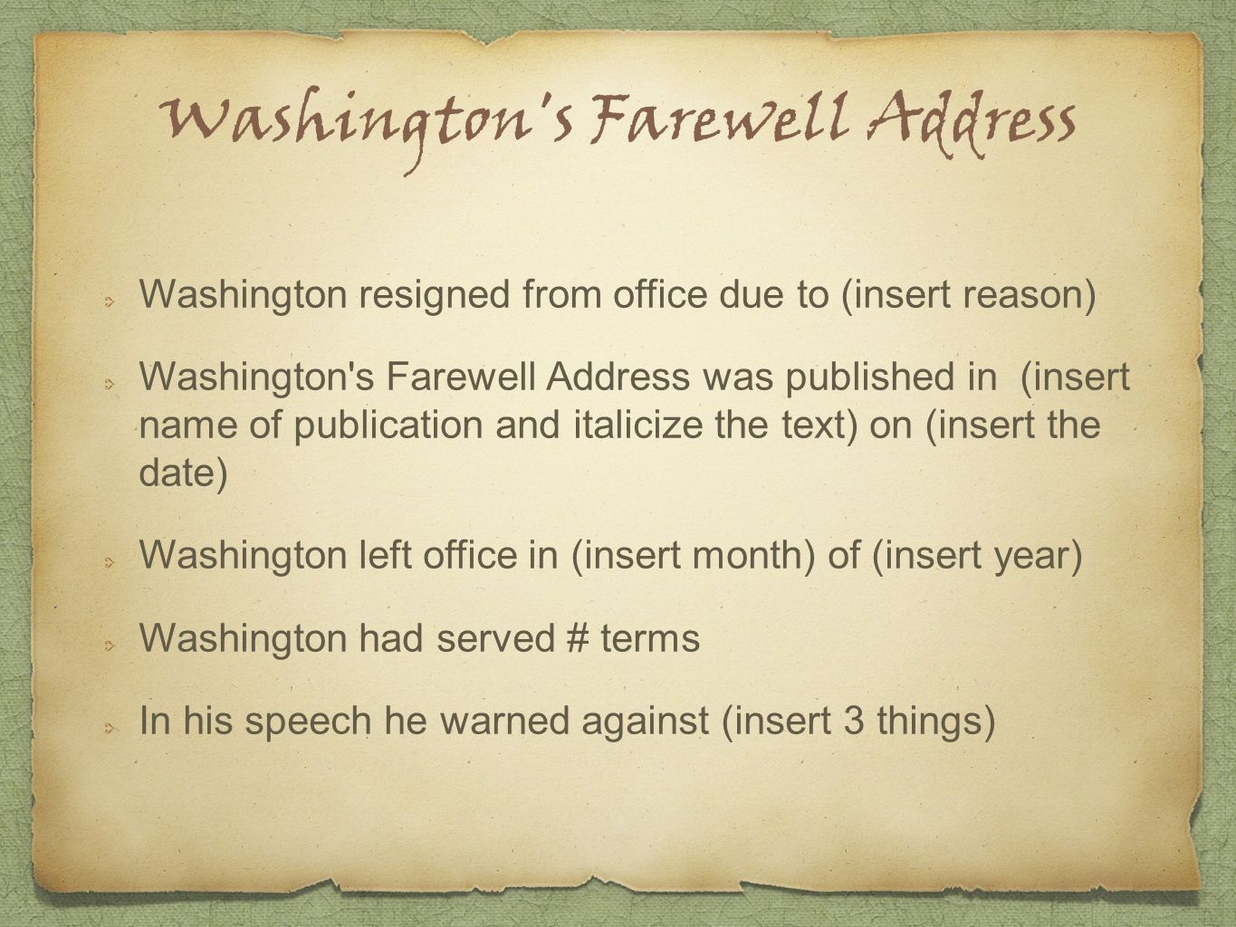 washington's farewell address Other articles where farewell address is discussed: george washington:  retirement:to his country in the farewell address (see original text) of  september.