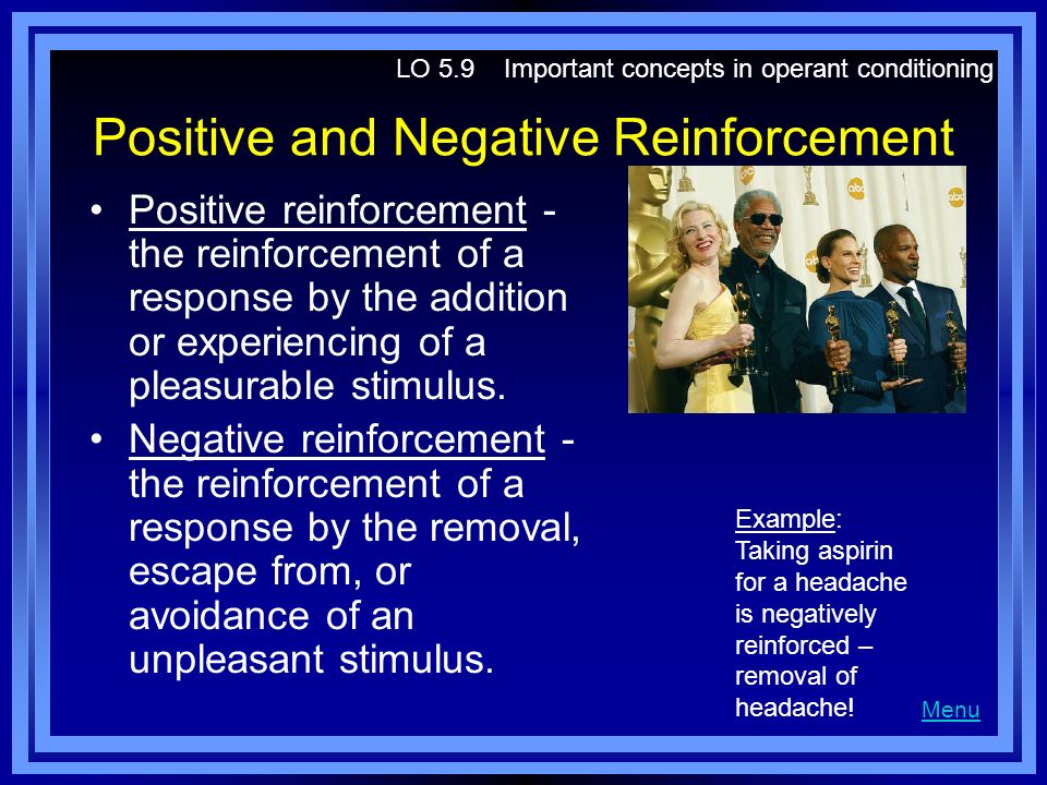 operant conditioning positive and negative reinforcement 1 operant conditioning examples for each example below, decide whether the situation describes positive reinforcement (pr), negative reinforcement (nr), positive punishment (pp), or negative punishment (np.