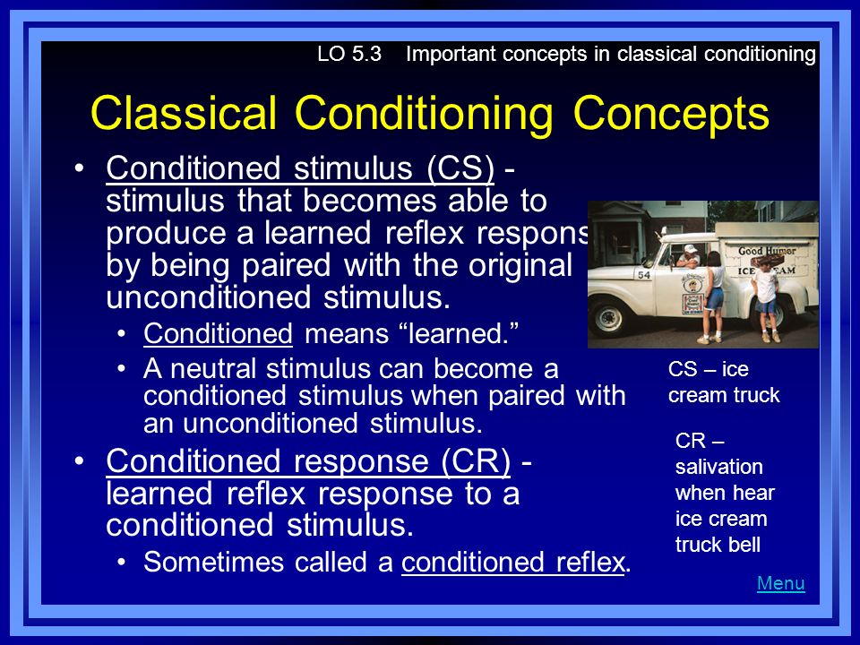 a discussion on classical conditioning as an explanation of learning Professional applications of learning theory in ® presentation with speaker notes demonstrating how gero miesenboeck has expanded on heath's research to apply classical conditioning techniques as an how vicki agee's explanation of how developing victim empathy creates the.