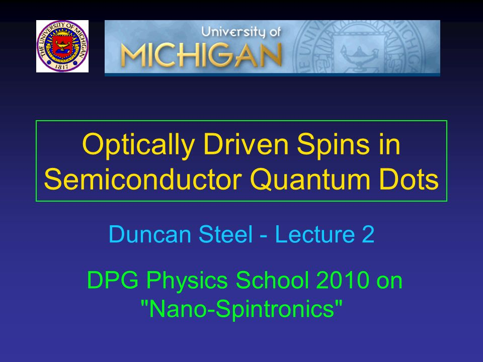 Optically Driven Spins in Semiconductor Quantum Dots