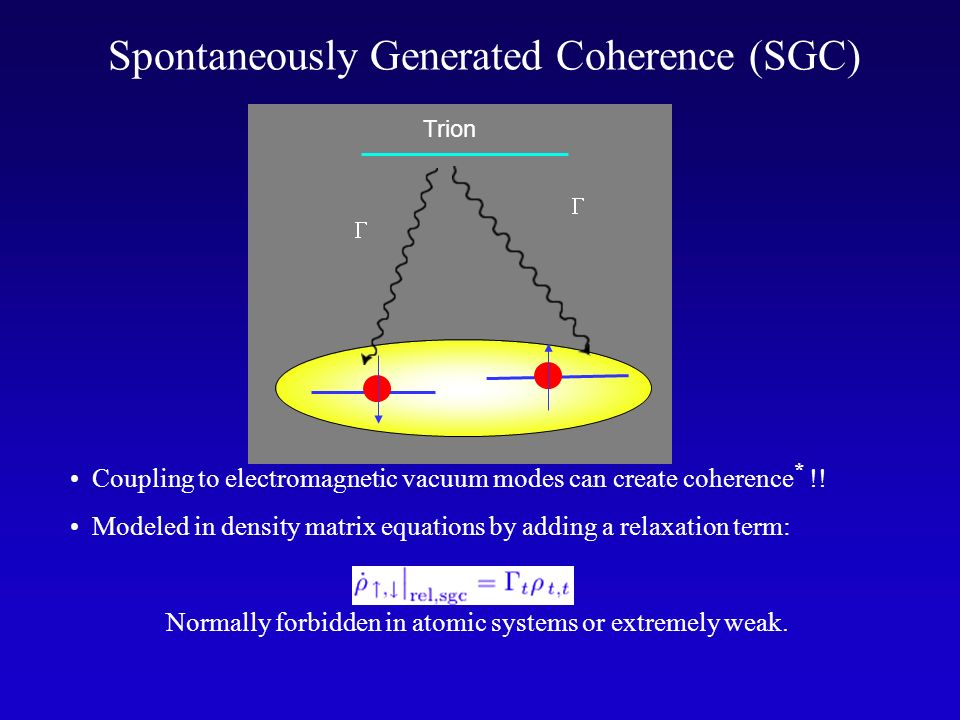 Spontaneously Generated Coherence (SGC)
