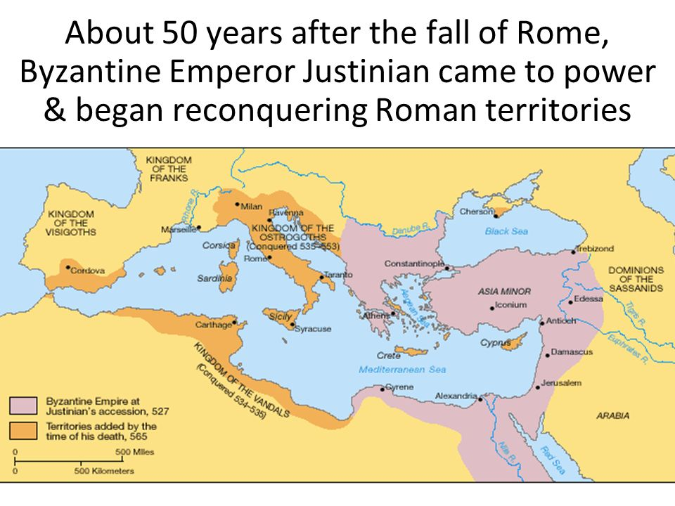 About 50 years after the fall of Rome, Byzantine Emperor Justinian came to power & began reconquering Roman territories