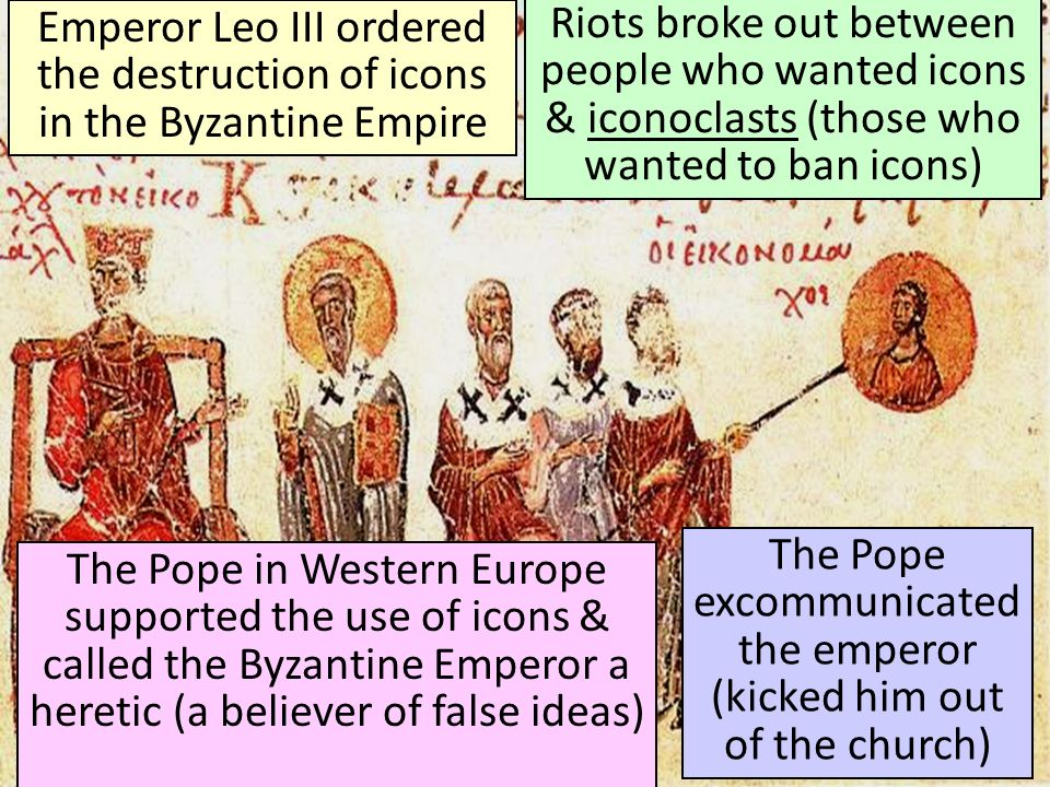 The Pope excommunicated the emperor (kicked him out of the church)