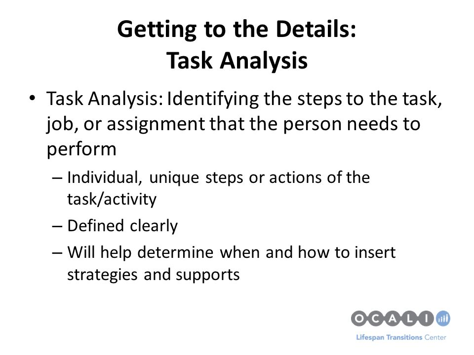 assignment 2 job task analysis Study flashcards on hrm 530 assignment 2: job / task analysis at cramcom quickly memorize the terms, phrases and much more cramcom makes it easy to get the grade you want.