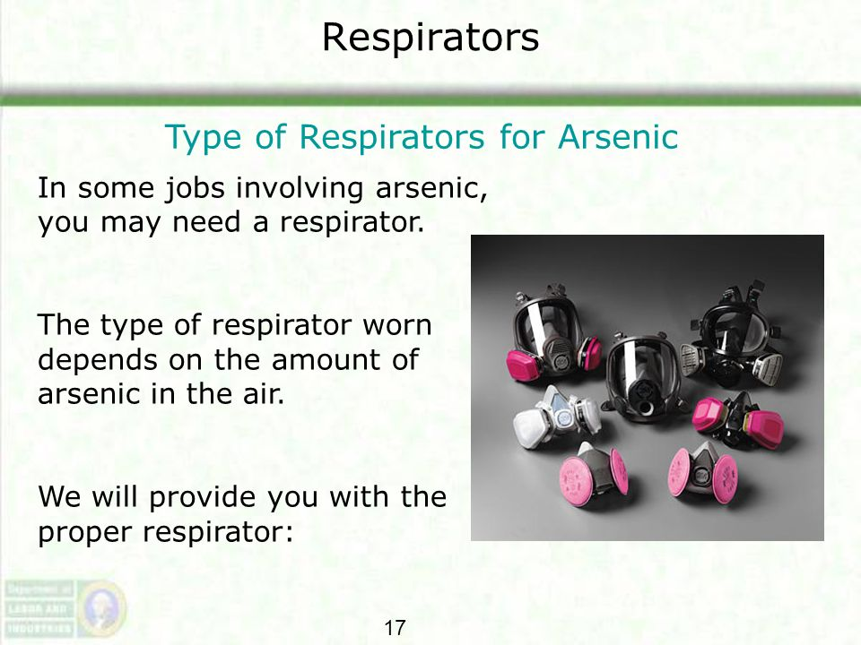 Type of Respirators for Arsenic