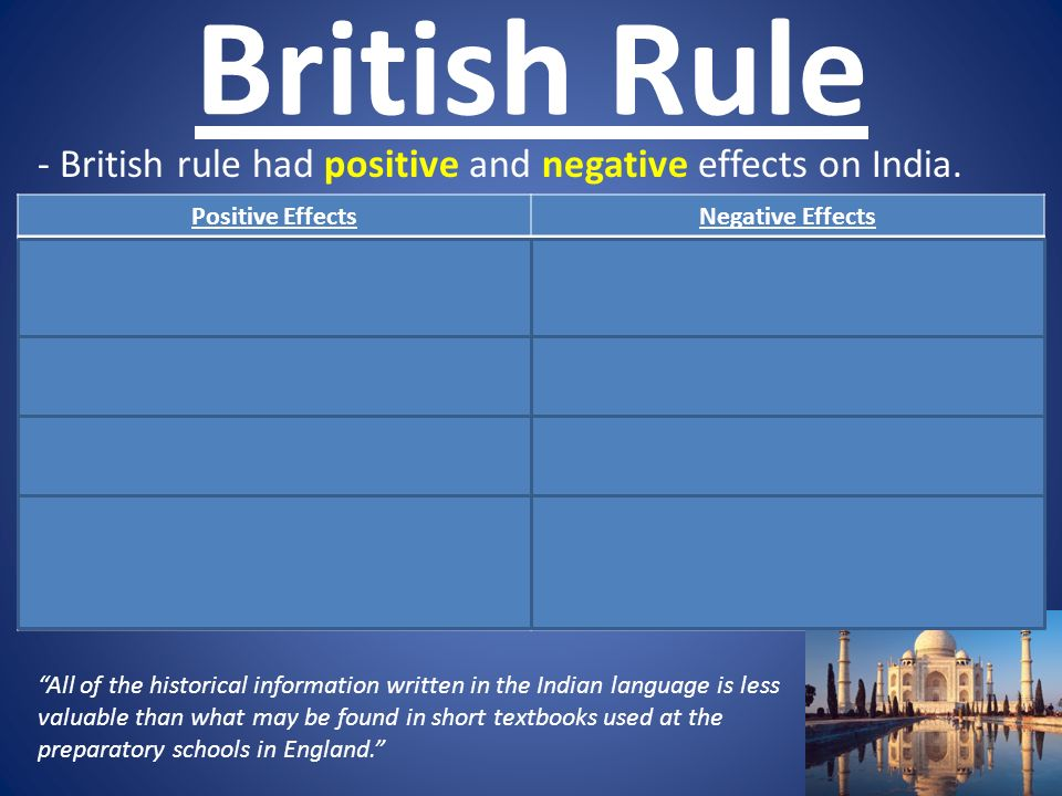 positive and negative effects of british rule Positive effects of the british rule in india james mill, a scottish economist and political philosopher of 19th century, thought the following about india.